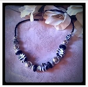Vintage Zebra Stripes Bead Necklace